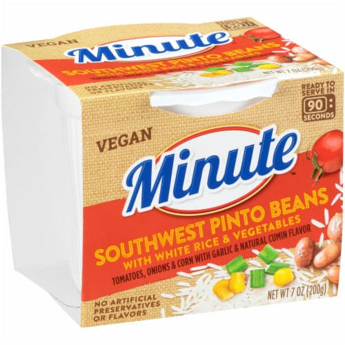 Minute Southwest Pinto Beans with White Rice & Vegetables Perspective: left
