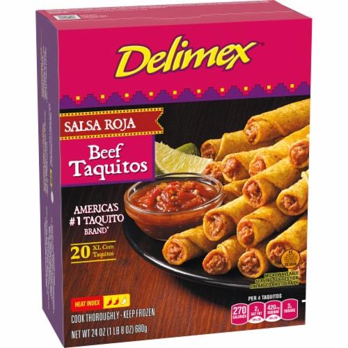 Delimex Beef Salsa Roja Corn Taquitos Frozen Appetizers 20 Count Perspective: left
