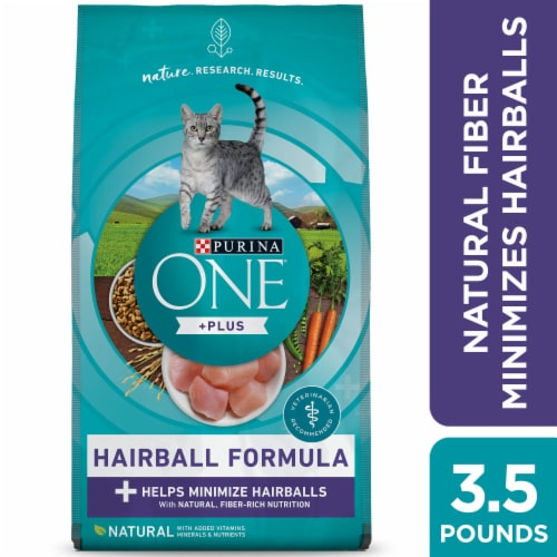 Purina One Hairball Formula Natural Dry Cat Food Perspective: left