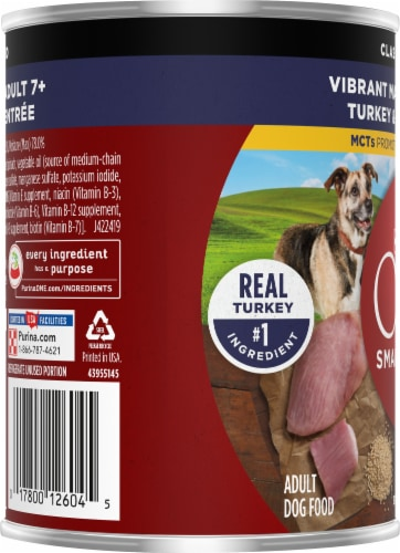 Purina ONE SmartBlend Vibrant Maturity 7+ Turkey & Barley Entree Classic Ground Wet Dog Food Perspective: left