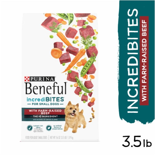 Beneful IncrediBites with Real Beef Small Breed Dry Dog Food Perspective: left