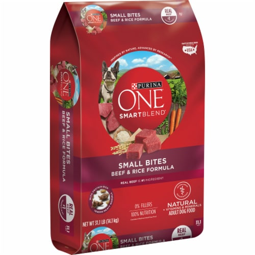 Purina ONE SmartBlend Small Bites Beef & Rice Adult Dry Dog Food Perspective: left