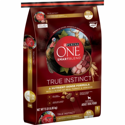 Purina ONE SmartBlend True Instinct with Real Turkey & Venison High Protein Natural Dry Dog Food Perspective: left