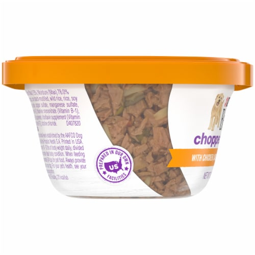 Beneful Chopped Blends with Chicken Carrots Peas & Wild Rice Wet Dog Food Perspective: left