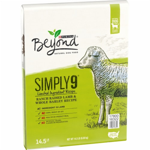 Beyond Simply 9 Ranch-Raised Lamb & Whole Barley Recipe Adult Dry Dog Food Perspective: left