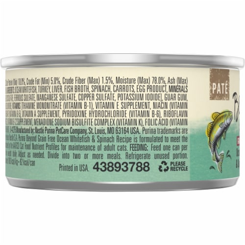 Beyond® Grain Free Ocean Whitefish & Spinach Recipe Pate Wet Cat Food Perspective: left