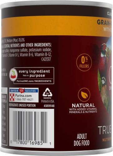 Purina ONE SmartBlend True Instinct Grain-Free Formula Real Gamebird Classic Ground Wet Dog Food Perspective: left