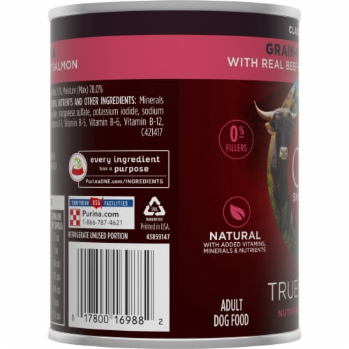 Purina ONE SmartBlend True Instinct Grain-Free Formula Beef & Wild Caught Salmon Wet Dog Food Perspective: left