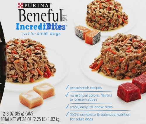 Beneful IncrediBites Small Breed Wet Dog Food Variety Pack Perspective: left