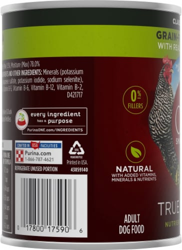 Purina ONE SmartBlend True Instinct Classic Ground Chicken & Duck Adult Dog Food Perspective: left