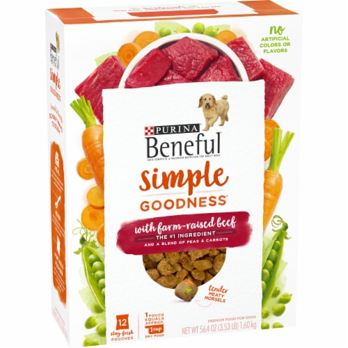 Purina Beneful Simple Goodness with Farm Raised Beef Adult Dry Dog Food Perspective: left