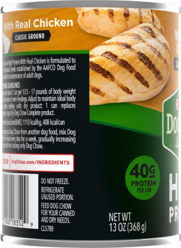 Dog Chow High Protein with Real Classic Ground Chicken Wet Dog Food Perspective: left