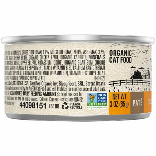 Beyond Organic Chicken & Carrot Recipe Pate Wet Cat Food Perspective: left