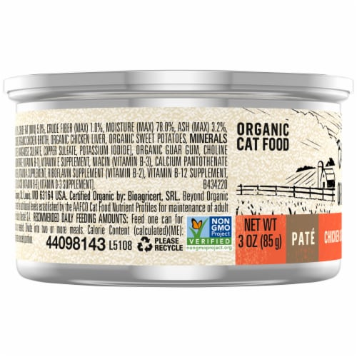 Beyond Organic Chicken & Sweet Potato Recipe Pate Wet Cat Food Perspective: left