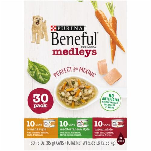 Purina Beneful Medleys Assorted Flavors Wet Dog Food Perspective: left