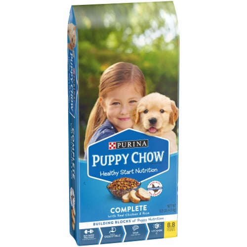 Purina Puppy Chow Healthy Start Nutrition Complete with Real Chicken & Rice Dry Dog Food Perspective: left