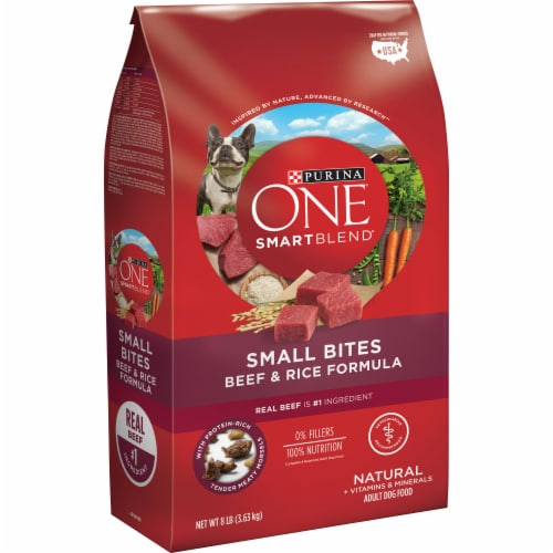 Purina ONE SmartBlend Small Bites Beef & Rice Formula Dry Dog Food Perspective: left