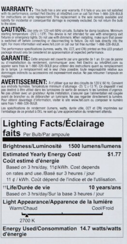 Feit Electric 14.5 Watt Non-Dimmable A19 LED Soft White Light Bulbs Perspective: left