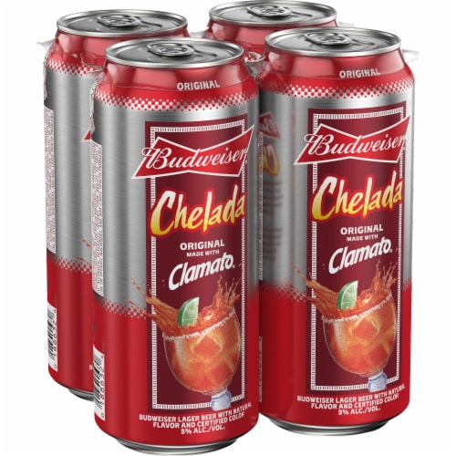 Budweiser and Clamato Chelada Beer Perspective: left