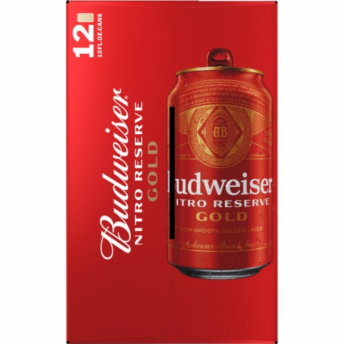 Budweiser Nitro Reserve Gold Lager Perspective: left