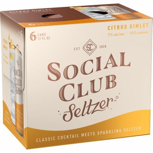 Social Club Seltzer Citrus Gimlet Hard Seltzer Cocktail Perspective: left