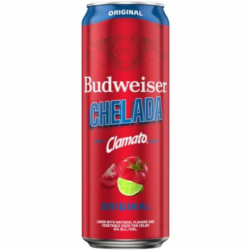 Budweiser & Clamato Chelada Beer Perspective: left