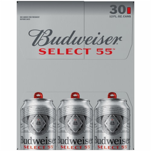 Budweiser Select 55 Light Lager Beer Perspective: left