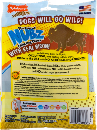 Nylabone Edibles Natural Nubz Wild Bison Flavor Small Chew Dog Treats Perspective: left