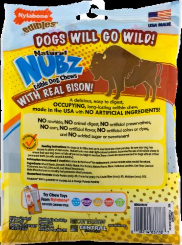 Nylabone Edibles Natural Nubz Wild Bison Flavor Small Chew Dog Treats Perspective: left