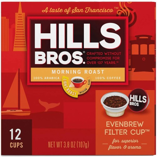 Hills Bros Single Serve Coffee Pods,Morning Roast, Light Roast Coffee, 12 Count - For Keurig Perspective: left