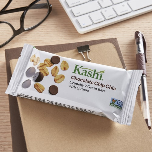 Kashi Vegan Crunchy Granola Bars Chocolate Chip Chia 5 Count Perspective: left