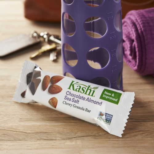 Kashi Vegan Chewy Granola Bars Chocolate Almond Sea Salt 6 Count Perspective: left