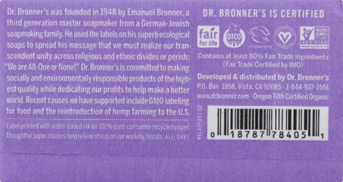 Dr. Bronner's All-One Hemp Lavender Pure-Castile Bar Soap Perspective: left