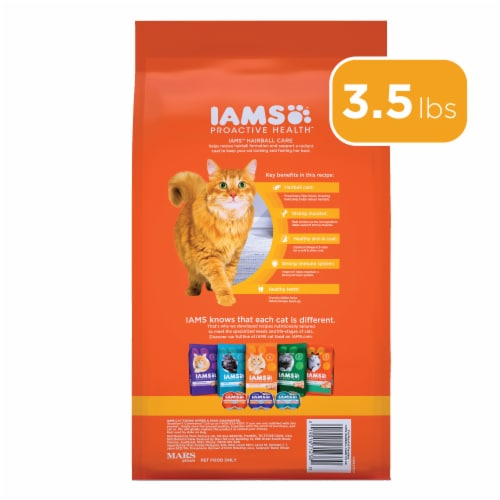 IAMS Proactive Health Hairball Care with Chicken & Salmon Adult Cat Food Perspective: left