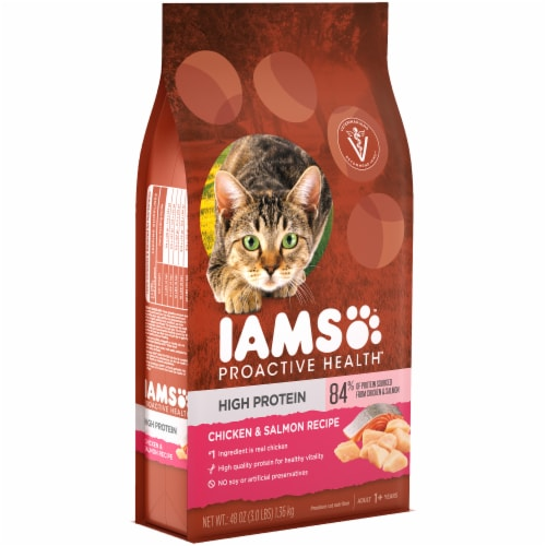IAMS Proactive Health High Protein Chicken & Salmon Recipe Adult Dry Cat Food Perspective: left