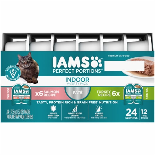 IAMS Perfect Portions Salmon & Turkey Pate Indoor Wet Cat Food Perspective: left