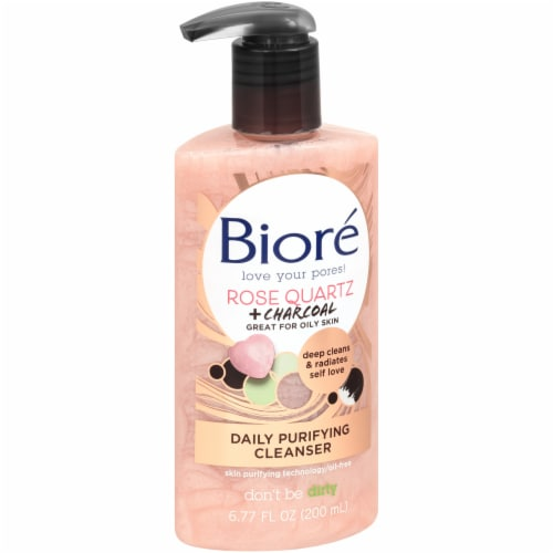 Biore Rose Quartz + Charcoal Daily Purifying Cleanser Perspective: left