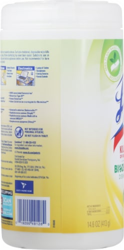 Lysol Plant-Based Fresh Citrus Scent Disinfecting Wipes Perspective: left