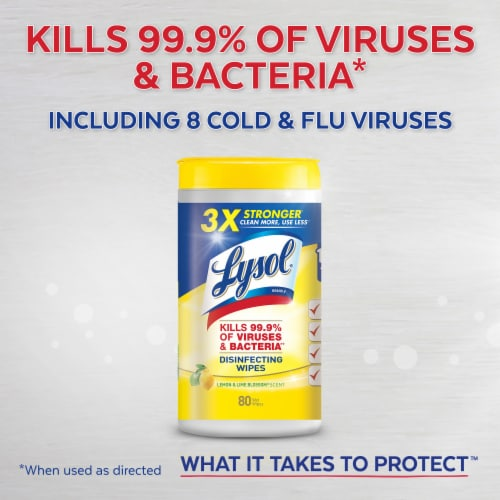 Lysol Lemon & Lime Blossom Scented Disinfecting Wipes Perspective: left