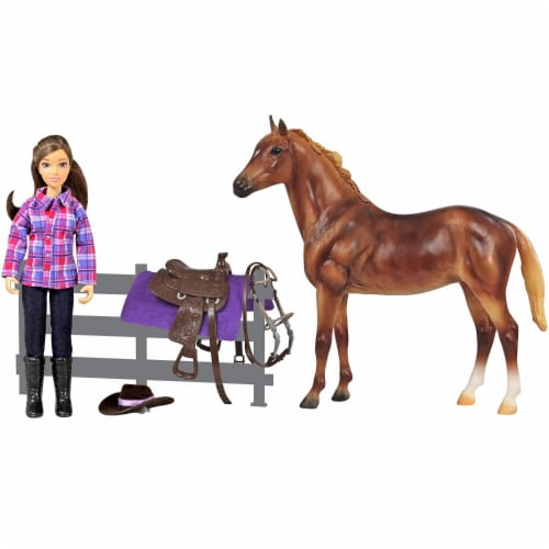 Breyer Freedom Series Western Horse and Rider Doll Kids Toy Set and Accessories Perspective: left