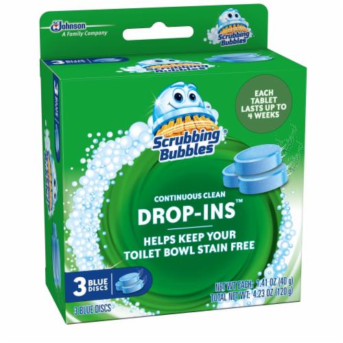Scrubbing Bubbles Drop-Ins Continuous Clean Blue Discs Perspective: left