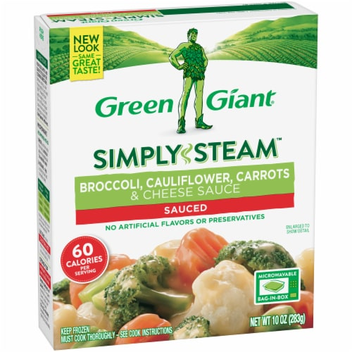 Green Giant Steamers Broccoli Cauliflower Carrots & Cheese Sauce Perspective: left