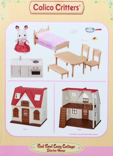 Calico Critters Red Roof Cozy Cottage Doll Set Perspective: left