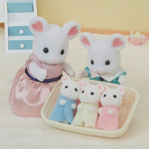 Calico Critters Marshmallow Mouse Triplets Set Perspective: left