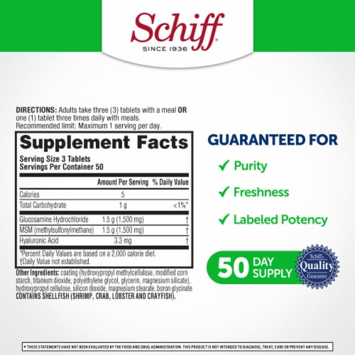Schiff Glucosamine Plus MSM Joint Care Coated Tablets Perspective: left