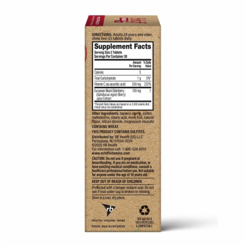 Schiff Elderberry Extract & Vitamin C Immune Health Support Chewable Tablets Perspective: left
