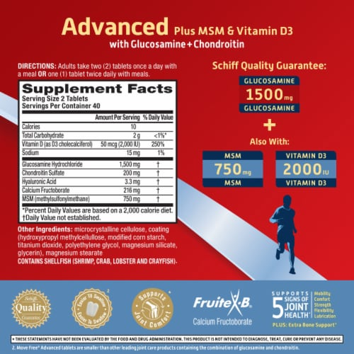 Move Free Advanced Plus MSM and Vitamin D3 Joint Health Supplement Tablets Perspective: left