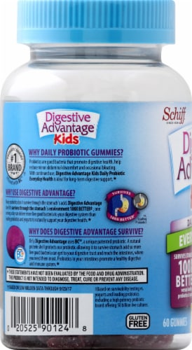 Schiff Digestive Advantage Kids Daily Probiotic Fruit Flavored Gummies 60 Count Perspective: left