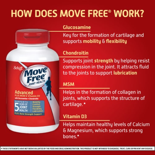 Schiff® Move Free® Advanced + MSM & D3 Joint Health Tablets Perspective: left