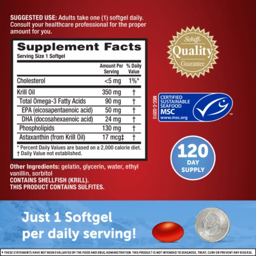 Schiff MegaRed Superior Omega-3 Krill Oil Dietary Supplement Softgels 350mg Perspective: left